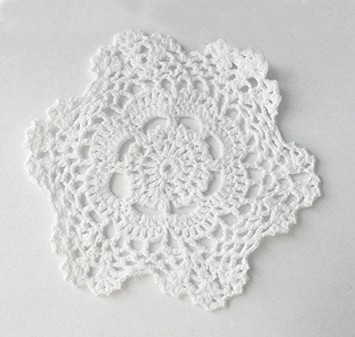 Fennco Styles Handmade Crochet Lace Cotton Doilies - 6-inch Round