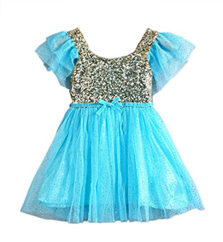 Stylesilove Infant Toddler Kids Little Girls Princess Ballerina Party Gold Sequin Tulle Flower Dress - 6 Colors