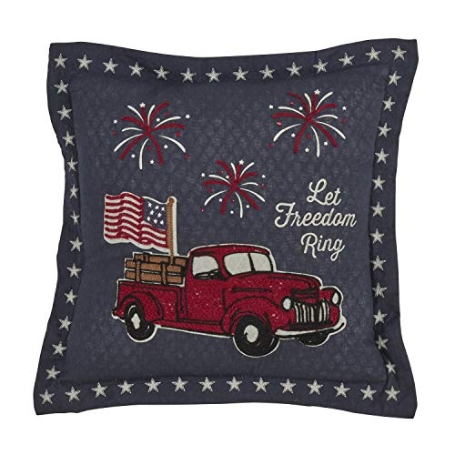 Fennco Styles Farmhouse Embroidered National Pride Decorative Throw Pillow with Case & Insert