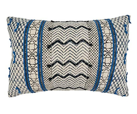 "Fennco Styles Boho Rug Design Cotton Decorative Throw Pillow 16"" W x 24"" L - Blue Geometric Cushion for Home, Couch, Living Room, Office and Bedroom Decor"