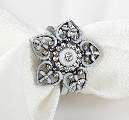 Fennco Styles Stunning Bejeweled Flower Napkin Ring, Set of 4, Home Decor, Wedding Events, Holiday