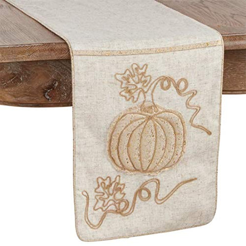 Fennco Styles Thanksgiving Foil Pumpkin Jute Embroidered Table Runner 13 x 72 Inch - Neutral Holiday Table Cover for Home Décor, Banquets, Family Gathering and Special Occasion