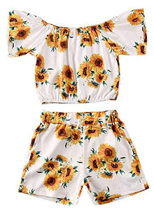 Baby Girl Sunflower Short Sleeve Crop Top and Shorts 2pcs Spring Summer Outfit