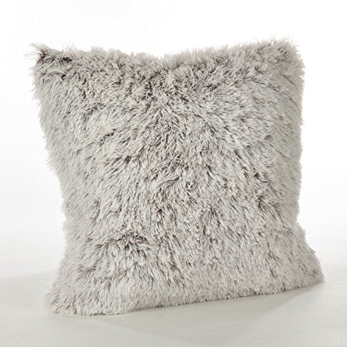 "Fennco Styles Juneau Collection Two-Tone Faux Fur Down Filled Throw Pillow - 18""Square (2 Color)"