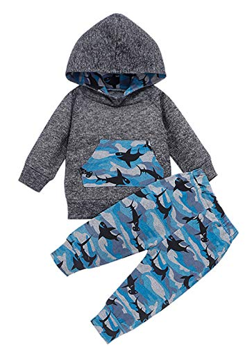 Styles I Love Baby Boys Grey Long Sleeve Hoodie Camouflage Shark Print and Pants 2pcs Cotton Outfit