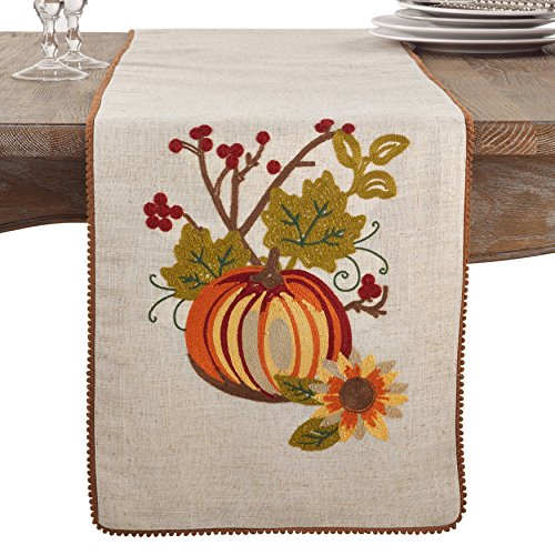 Fennco Styles Embroidered Pumpkin Floral Holiday Thanksgiving Table Runner (Pumpkin Floral)