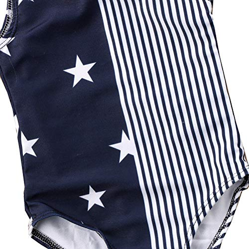 stylesilove Mommy and Daughter Navy Blue One Piece Swimsuit American Flag Matching Holiday Bathing Suit Beach Pool Swimwear