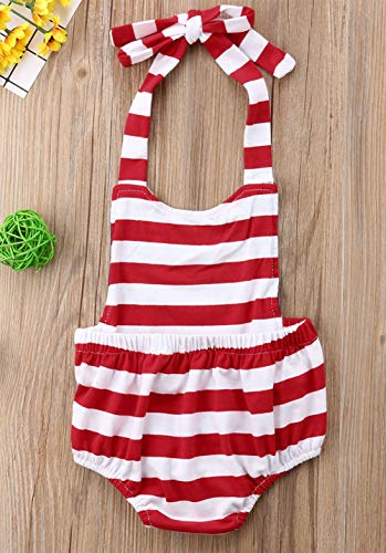 Infant Baby Girl Stars Stripes Design Cotton Bubble Romper 4th of July Jumpsuit Patriotic Sunsuit Outfit