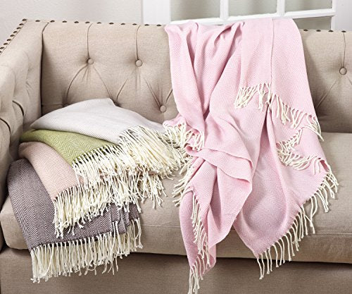 Fennco Styles Herringbone Collection Contemporary Fringed 50 x 60 Inch Throw - Variety Colors Throw Blanket for Couch, Bedroom and Living Room Décor