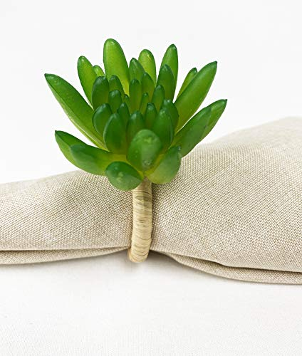 Fennco Styles Handmade Desert Succulent Decorative Napkin Rings, Set of 4