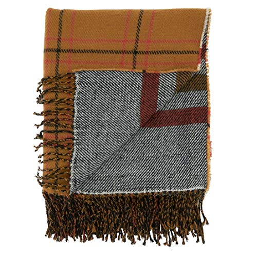 "Fennco Styles Reversible Plaid Stripes Fringe Throw Blanket 50"" W x 60"" L – Rust Knitted Blanket for Couch, Bedroom and Living Room Décor"