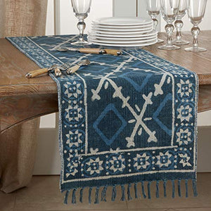 Fennco Styles Distressed Mud Cloth Tassel 100% Cotton Table Runner 16 x 72 Inch – Navy Blue Table Cover for Home Décor, Dining Table, Banquets, Holidays and Special Events