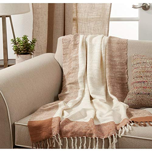 Fennco Styles Luxury Classic Touch Banded Border Cotton 50 x 67 Inch Throw – Throw Blanket for Bed, Couch, Sofa, Home Décor, Ideas