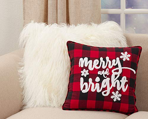 "Fennco Styles Holiday Buffalo Plaid Merry and Bright Decorative Throw Pillow 16"" W x 16"" L - Red & Black Square Cushion for Christmas, Home, Couch, Office, Living Room Décor"