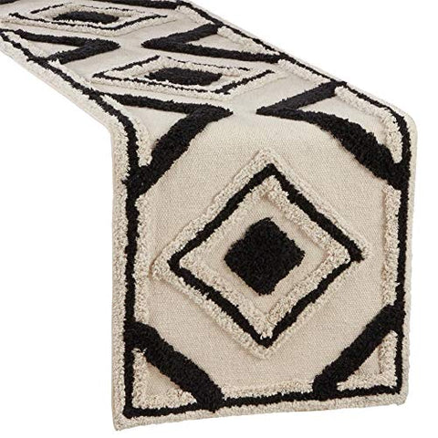 Fennco Styles Textured Geometric Design Cotton Rug Shag Table Runner 16 x 72 Inch Rectangular – Natural Black Table Cover for Home Décor, Dining Table, Banquets, Easter, Holidays and Special Occasions