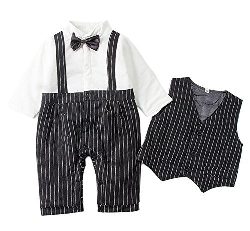 Stylesilove Baby Kids Boy Quilted Lined Warm Tuxedo Romper and Vest