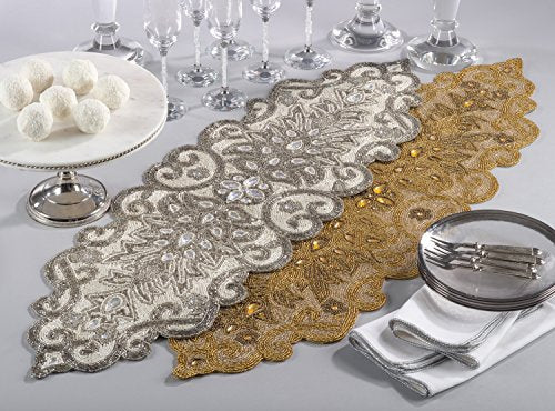 Fennco Styles Hand Beaded Scroll Motif Table Runner - 2 Colors