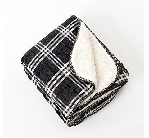 "Fennco Slate Plaid & Sofa Sherpa Reverse Throw Blanket, 50""W x 60""L"