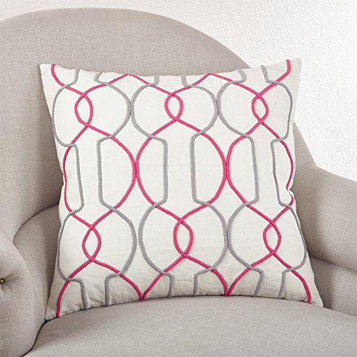 "Fennco Styles Cord Design Gep Throw Pillow, 3 Colors (Square 20""x20"", Sorbet)"