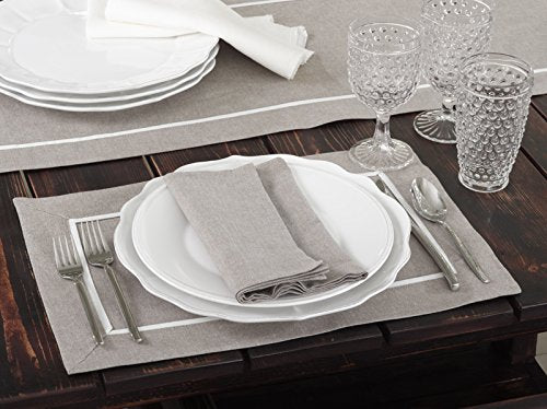 "Fennco Styles Classic Pleated Cotton Table Linens, Placemats, Napkins, Set of 4 (20""x20"" Napkins (S/4)"