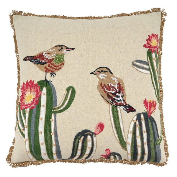 Fennco Styles Embroidered Cactus & Birds Cotton-Linen Decorative Throw Pillow 18 Inch for Couch, Sofa, Bedroom, Office and Living Room Décor