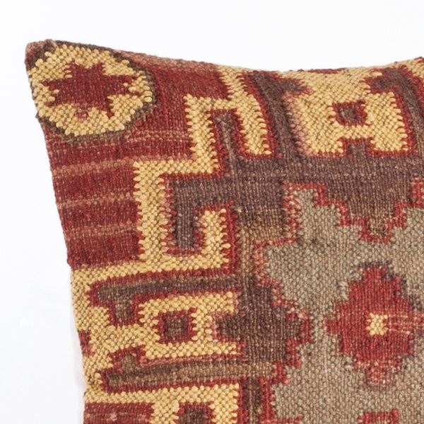 Fennco Styles Kilim Collection Southwestern Embroidered Wool 20 x 20 Inch Throw Pillow with Case & Insert – Multicolor Throw Pillow for Couch, Bedroom and Living Room Décor