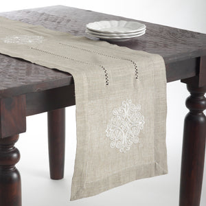 Fennco Styles Lucia Embroidered Medallion Linen Blend Natural Tablecloth