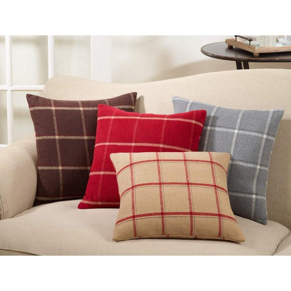 Fennco Styles Classic Flannel Plaid Down Filled 18 Inch Square Decorative Throw Pillow