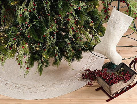 Fennco Styles Embroidered Swirl Design Decorative Linen Blend Christmas Tree Skirt