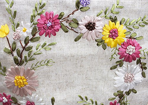 Fennco Styles Handmade Ribbon Embroidery Flower Decorative Linen Table Runner 13 x 72 Inch