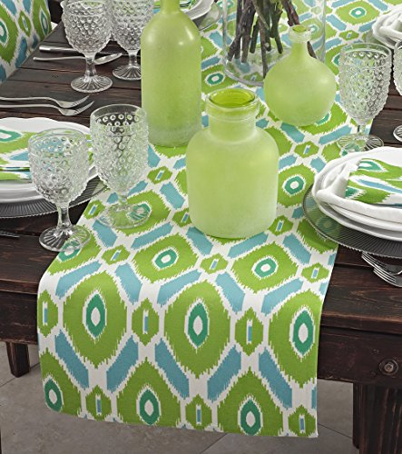 "Fennco Styles Palau Ikat Design Cotton Table Runner - 16""x72"""