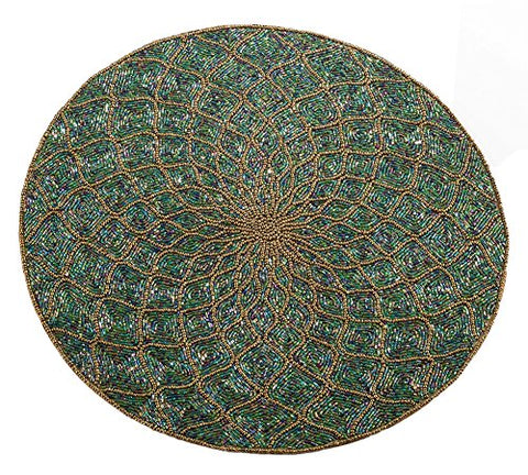 Fennco Styles Handmade Glass Beaded 15-inch Round Home Decor Placemat - 1-Piece