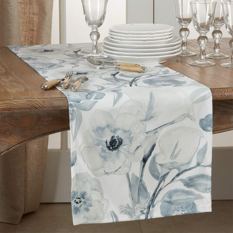 Fennco Styles Lush Watercolor Floral Table Runner 16 x 72 Inch - Blue-Grey Table Cover for Home Décor, Dining Table, Banquets, Holidays and Special Events