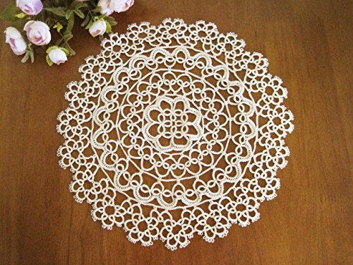Fennco Styles Handmade All-Over Tatting Lace Tablecloth 100% Cotton