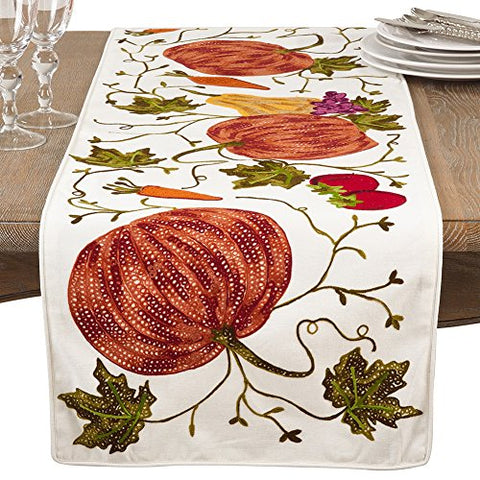 "Fennco Styles Pumpkin Embroidery Thanksgiving Holiday Decorative 100% Cotton 16""x72"" Rectangular Table Runner"