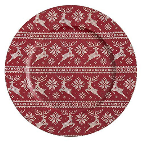 "Fennco Styles Reindeer Christmas Sweater Design Decorative Charger Plates 14"" Round, Set of 4"