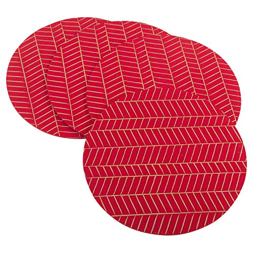 Fennco Styles Holiday Collection Contemporary Metallic Variety Design Felt 15 x 15 Inch Place Mats, Set of 4 – Red Placemats for Banquets, Family Gathering, Special Events and Home Décor