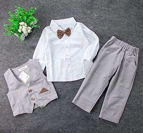 stylesilove Infant Toddler Young Kids Little Boy 4-Piece Chic Tuxedo Outfit