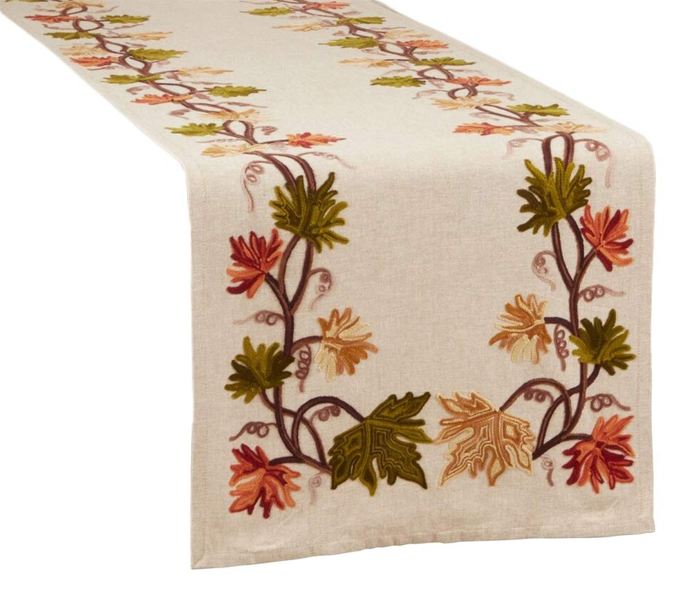 Fennco Styles Fall Leaf Embroidery 100% Cotton Table Runner 16 x 72 Inch