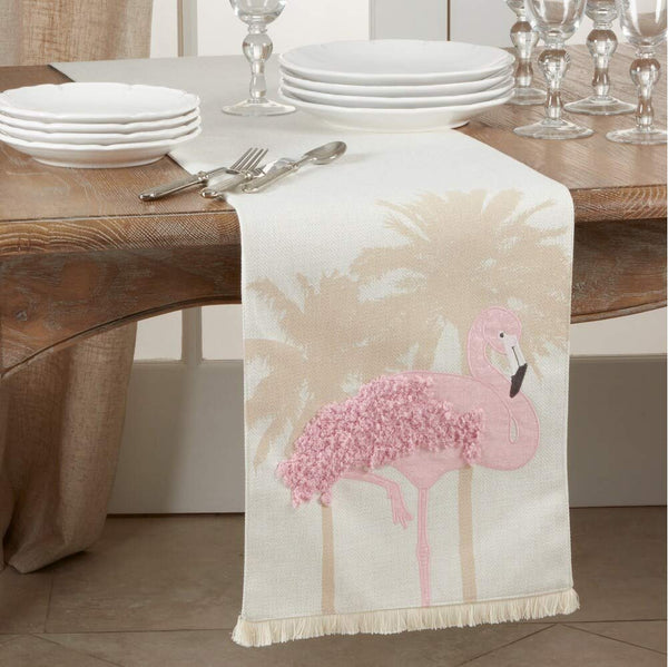 Fennco Styles Textured Flamingo Table Runner 13 x 72 Inch