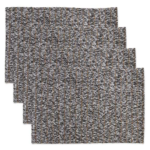 "Fennco Styles Striped Tweed Placemats 14""x20"" Rectangular, Set of 4"