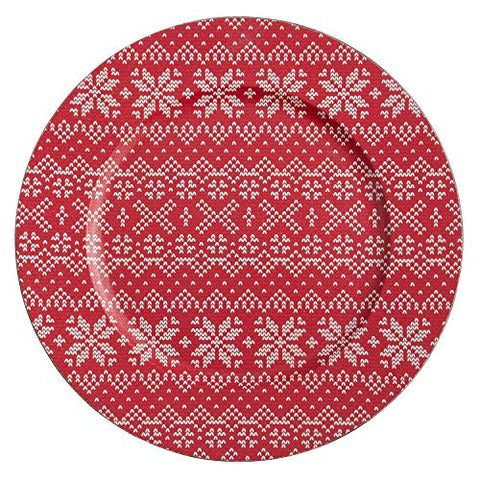 "Fennco Styles Snowflake Christmas Sweater Design Decorative Charger Plates 14"" Round, Set of 4"