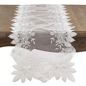 Fennco Styles Fancy Floral Embroidery Ivory Table Runner 16 x72 Inch for Home Décor, Wedding, Holiday and Special Occasion