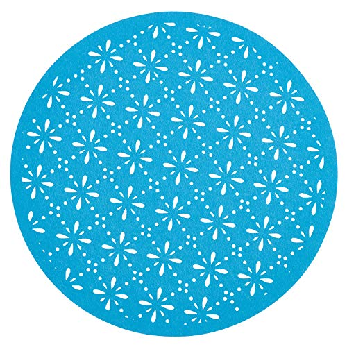 "Fennco Styles Provato Collection Contemporary Floral Cutwork Felt 15"" Round Table Mats, Set of 4"