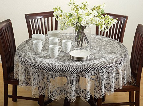 Fennco Styles Classic Crochet Endurable Vinyl Tablecloth, 2 Colors