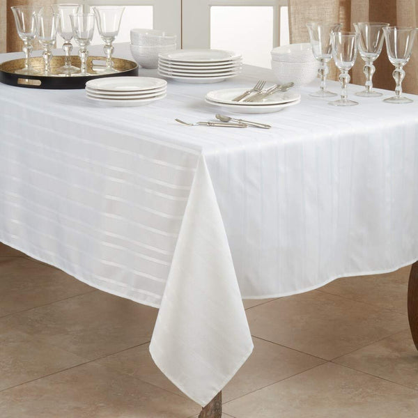 Fennco Styles Delicate Woven Jacquard Stripe Tablecloth - White Table Cover for Home, Dining Room Décor, Banquets, Family Gathering, Wedding and Special Occasion