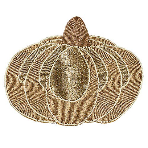 Fennco Styles Contemporary Beaded Pumpkins 14 x 14 Inch Placemats, Set of 2 – Gold Place Mats for Thanksgiving Dinner, Family Gathering, Special Events and Home Décor