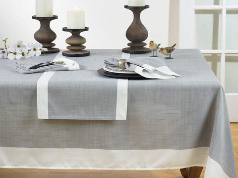 Fennco Styles Classic Banded Border Tablecloth Linen Collection