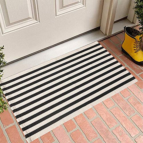 Fennco Styles Woven Classic Striped Area Rug - Cotton Blend Carpet Indoor Outdoor Floor Mat for Living Room, Entryway, Bedroom and Floor Décor