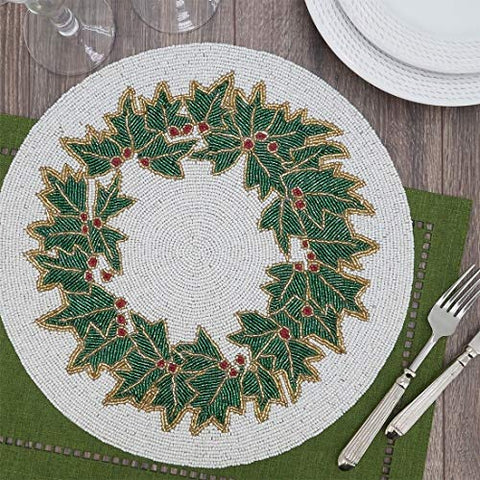 "Fennco Styles Hand Beaded Holly Holiday Placemat 15"" Round, 1-Piece - Green & White Table Mat for Banquets, Christmas, Special Events and Home Décor"